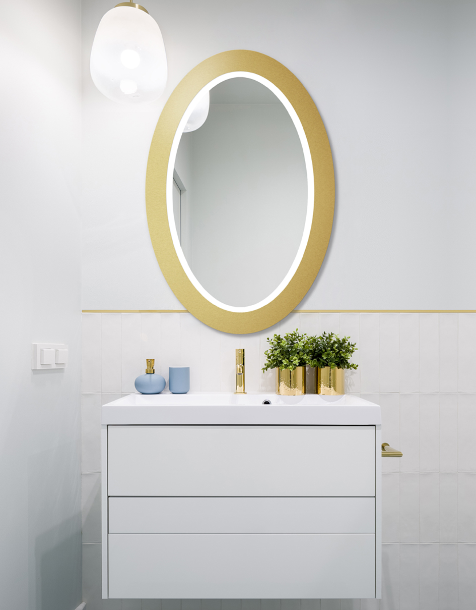 MIRROR OVAL BOLD LED GOLD